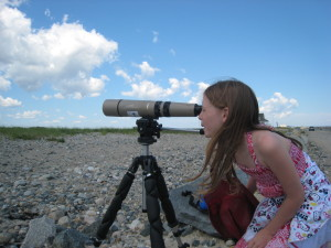 Girl looking through spotting scope on beach