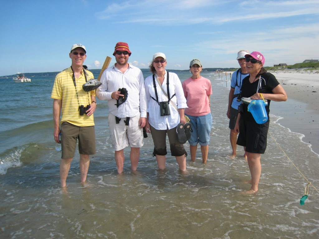 Six people with binoculars standing in the water.