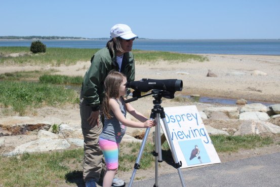Beach Ambassador Lisa Meeks helps a young visitor use the spotting scope at the Osprey Viewing Station