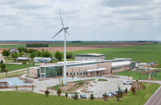 The Greensburg Hospital is LEED certified with a wind turbine on site.