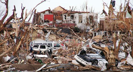 Greensburg, Kansas after the devastating tornado of 2007.