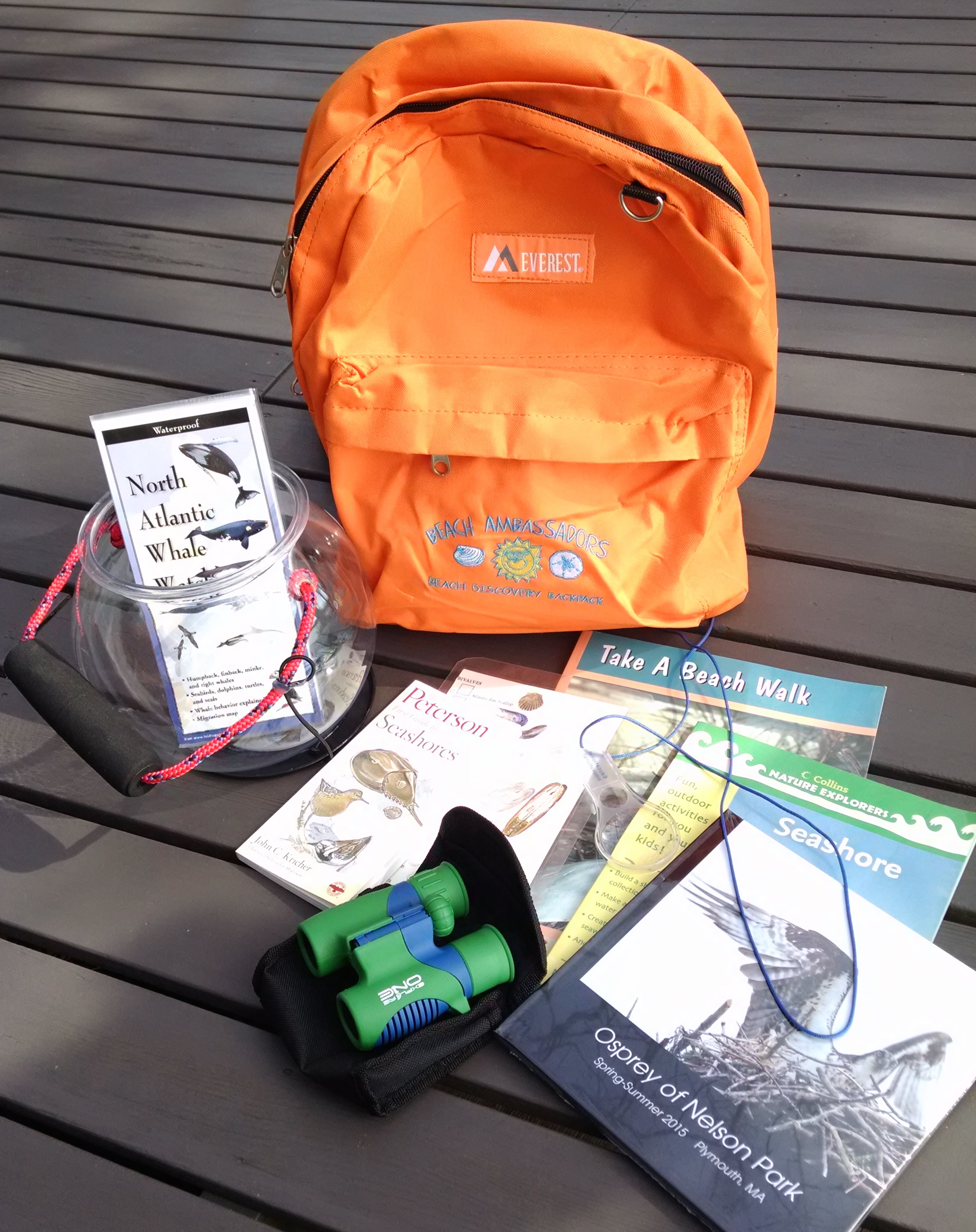 Binoculars, books and more in Beach Discovery Backpack